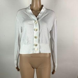 J Crew Cropped Lightweight Cardigan Sweater White